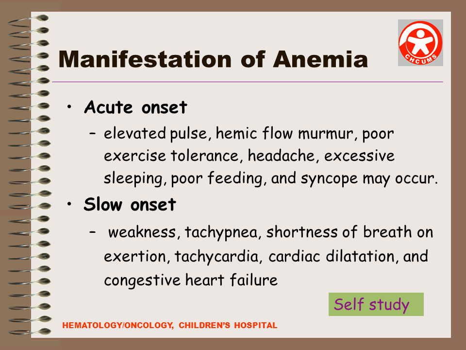 Manifestation of Anemia