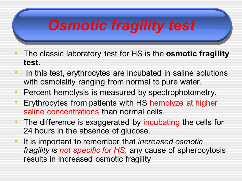 Osmotic fragility test
