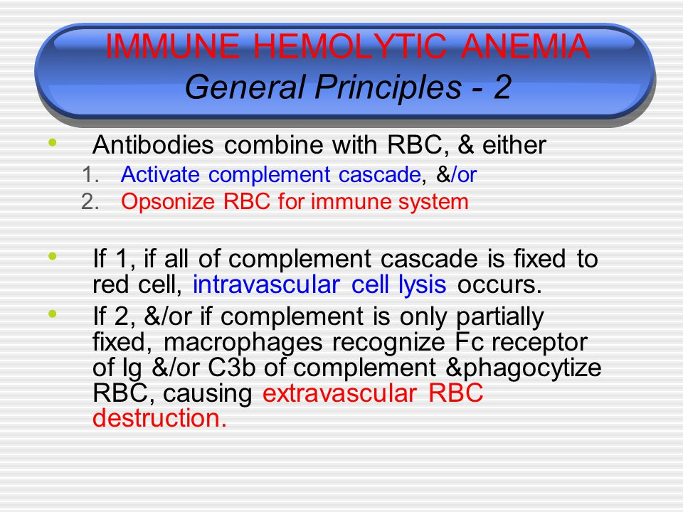 IMMUNE HEMOLYTIC ANEMIA General Principles - 2