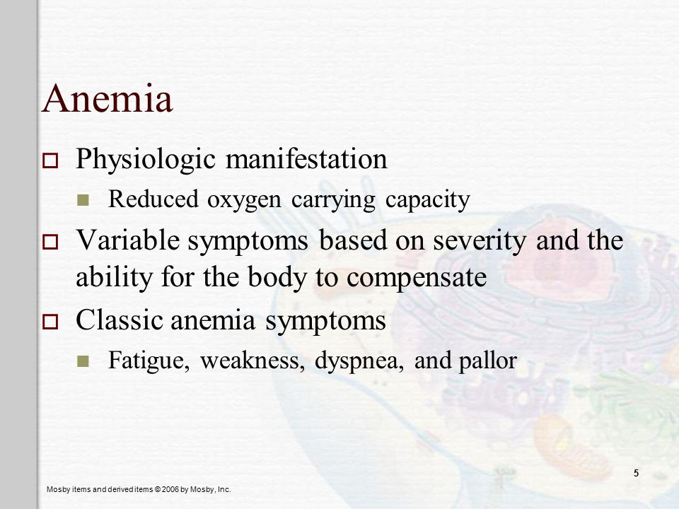 Anemia Physiologic manifestation