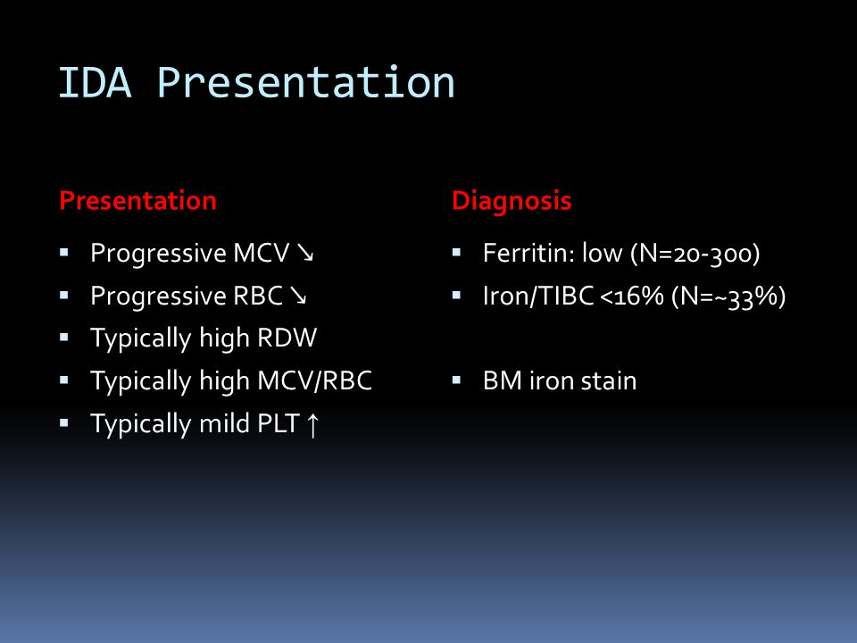 IDA Presentation Presentation Diagnosis Progressive MCV ↘