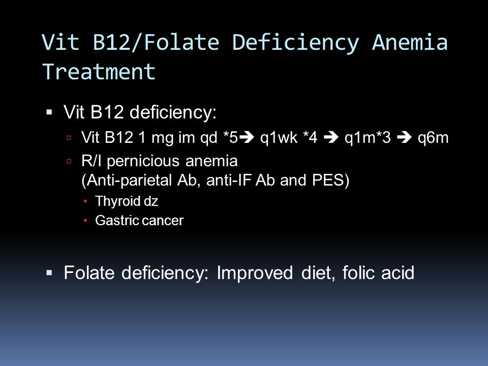 Vit B12/Folate Deficiency Anemia Treatment
