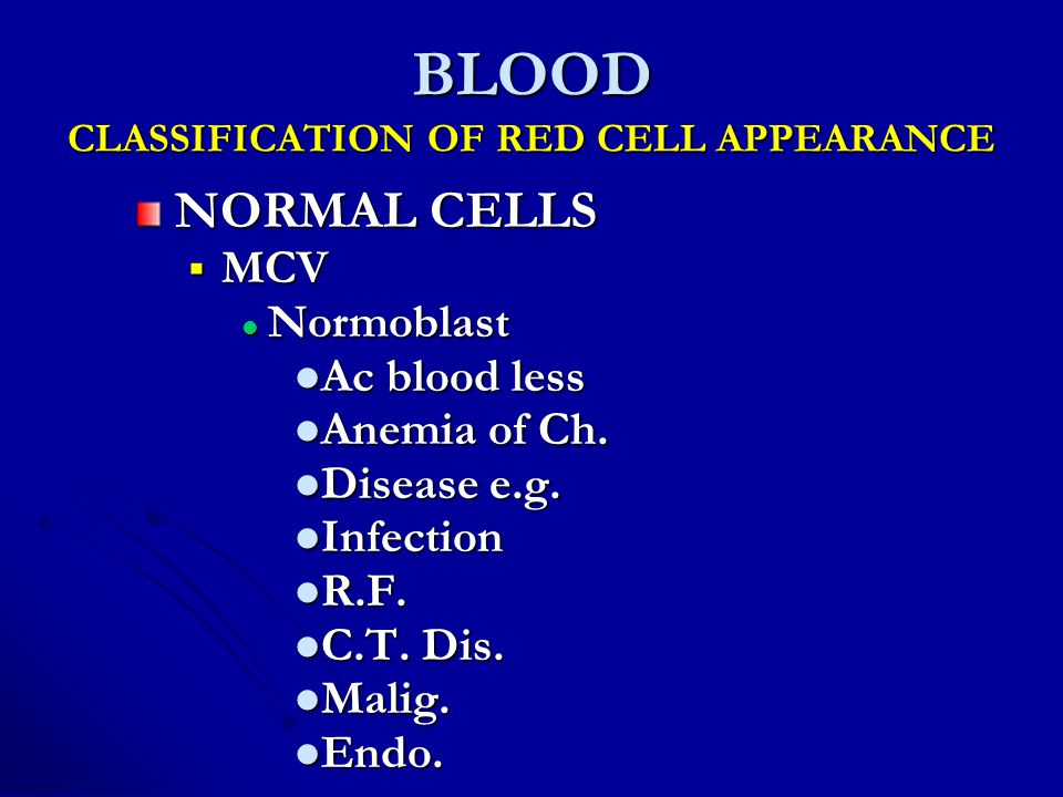 BLOOD CLASSIFICATION OF RED CELL APPEARANCE