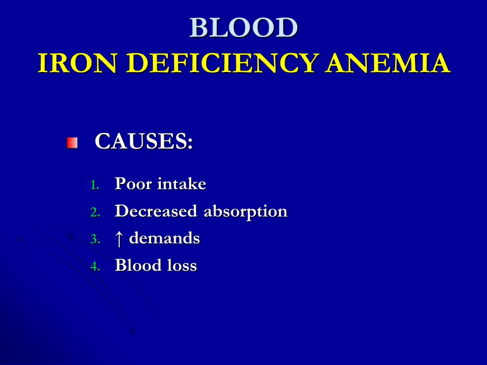 BLOOD IRON DEFICIENCY ANEMIA