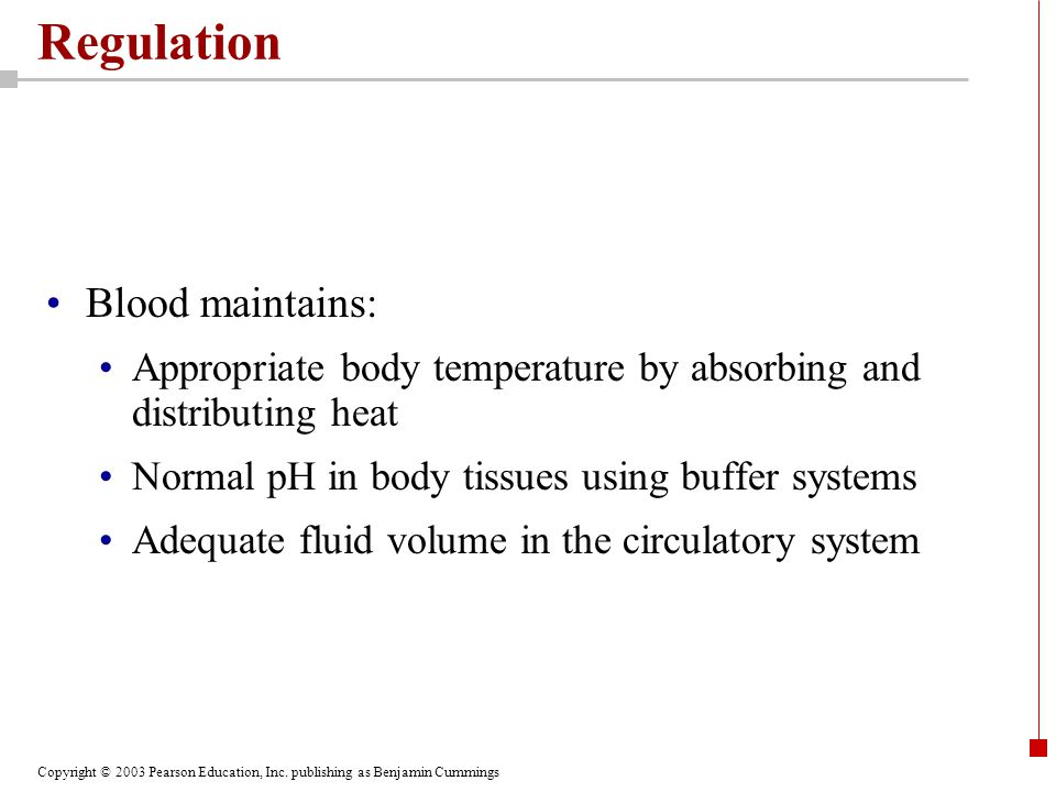 Regulation Blood maintains: