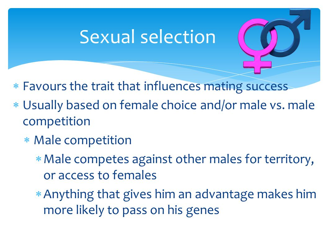 Sexual selection Favours the trait that influences mating success