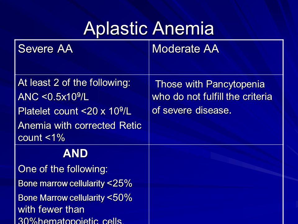Aplastic Anemia Severe AA Moderate AA