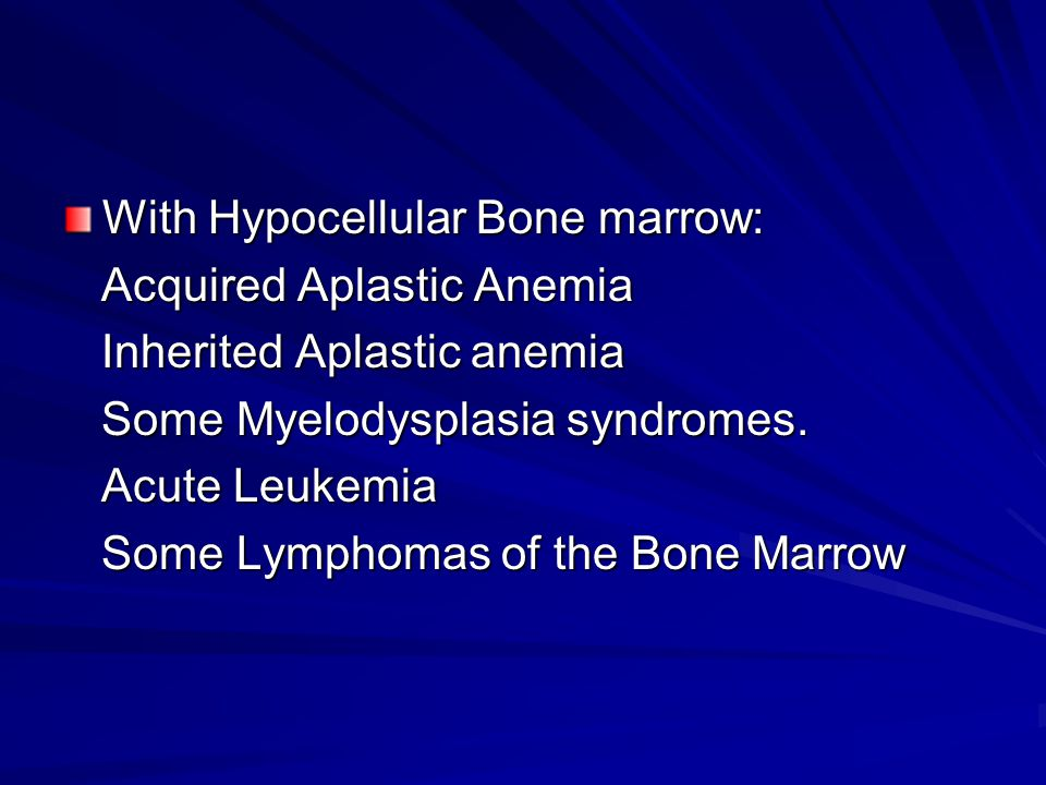 With Hypocellular Bone marrow: