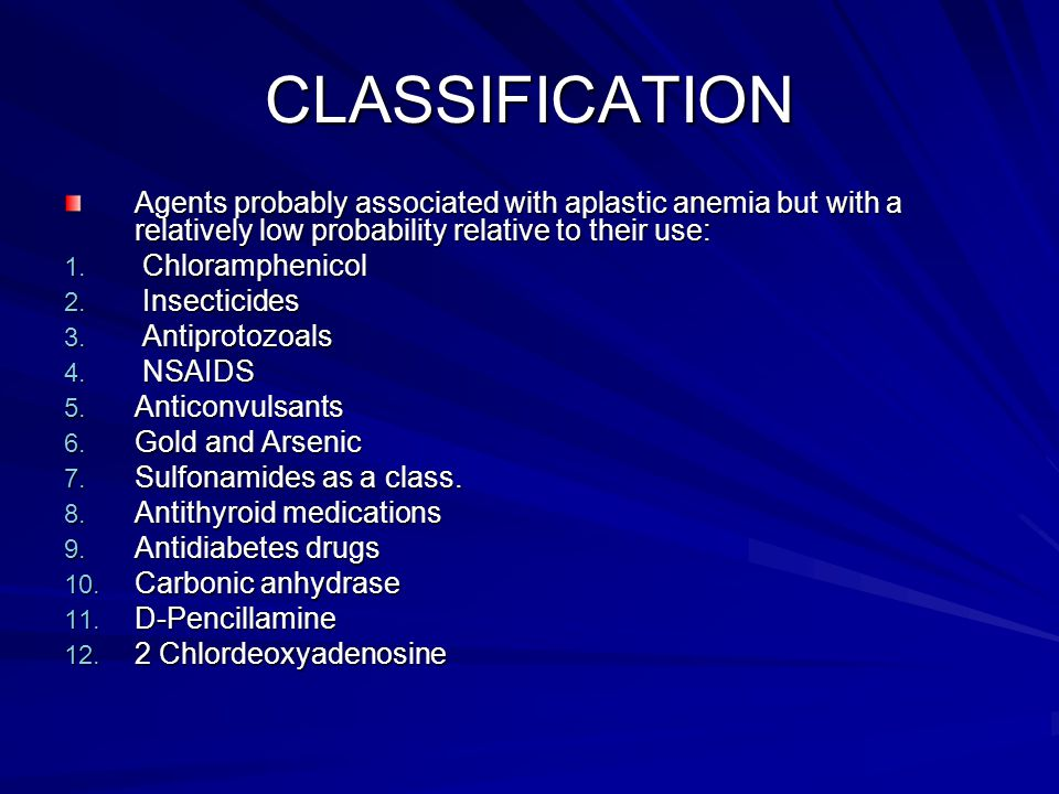 CLASSIFICATION Agents probably associated with aplastic anemia but with a relatively low probability relative to their use: