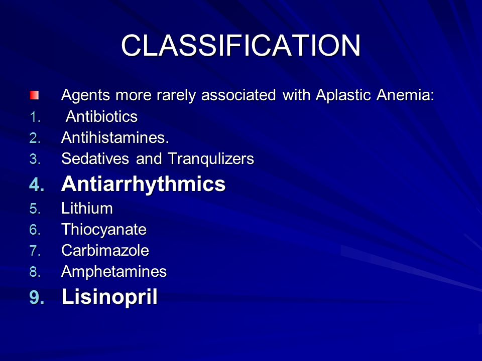 CLASSIFICATION Antiarrhythmics Lisinopril