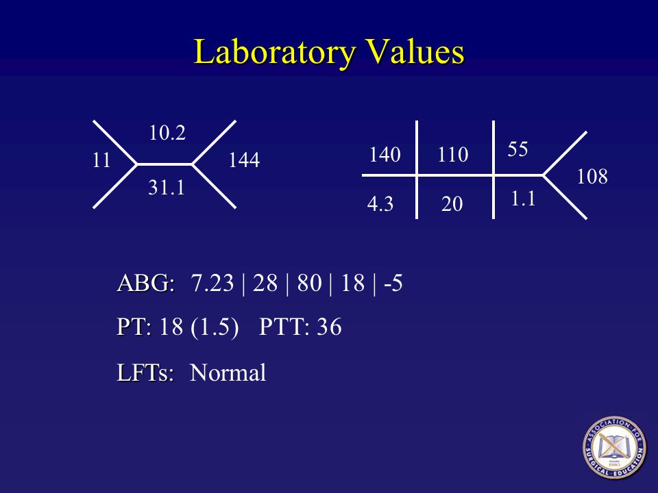 Laboratory Values ABG: 7.23 | 28 | 80 | 18 | -5 PT: 18 (1.5) PTT: 36