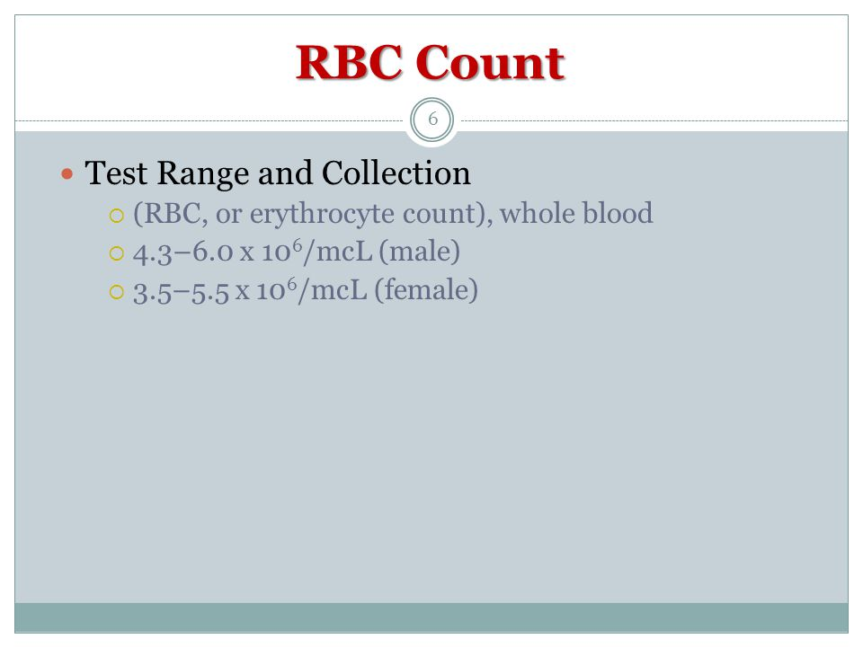 RBC Count Test Range and Collection