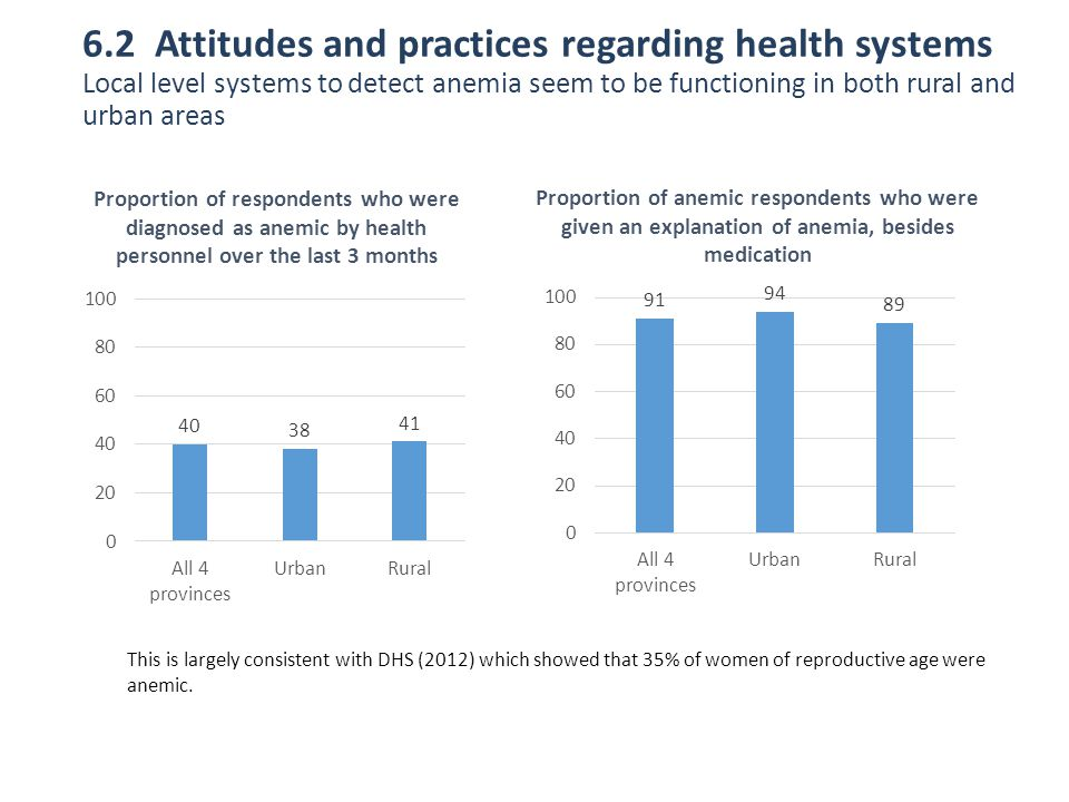 6.2 Attitudes and practices regarding health systems Local level systems to detect anemia seem to be functioning in both rural and urban areas