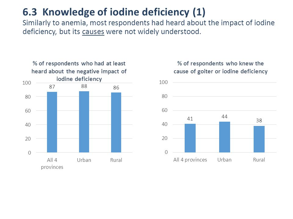 6.3 Knowledge of iodine deficiency (1) Similarly to anemia, most respondents had heard about the impact of iodine deficiency, but its causes were not widely understood.