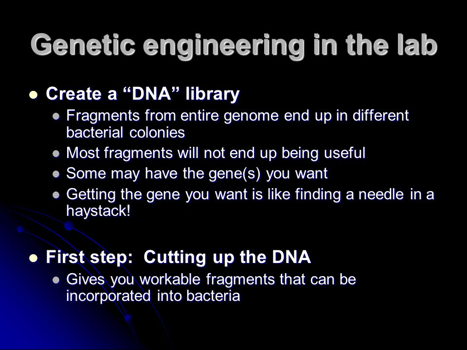 Genetic engineering in the lab