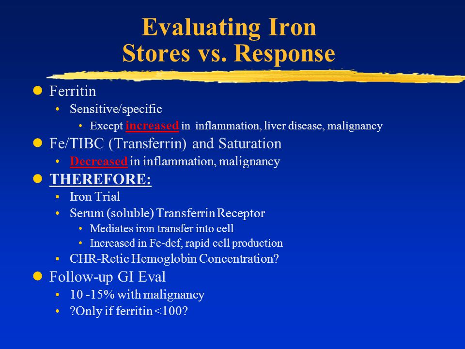 Evaluating Iron Stores vs. Response