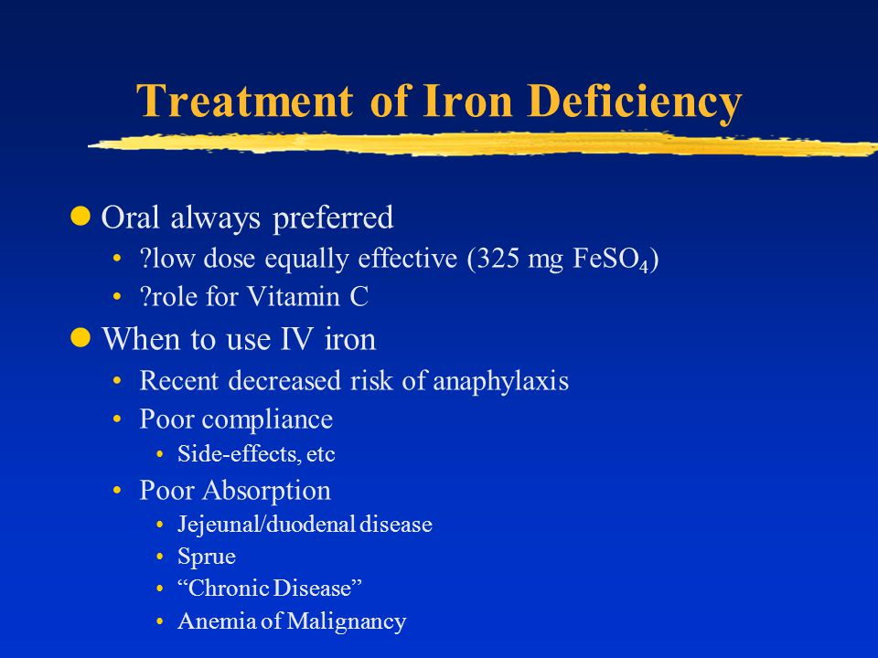 Treatment of Iron Deficiency