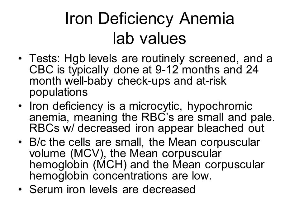 Iron Deficiency Anemia lab values