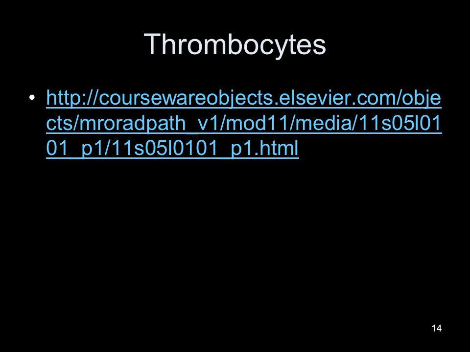 Thrombocytes http://coursewareobjects.elsevier.com/objects/mroradpath_v1/mod11/media/11s05l0101_p1/11s05l0101_p1.html.