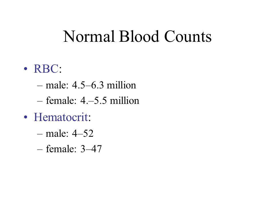 Normal Blood Counts RBC: Hematocrit: male: 4.5–6.3 million