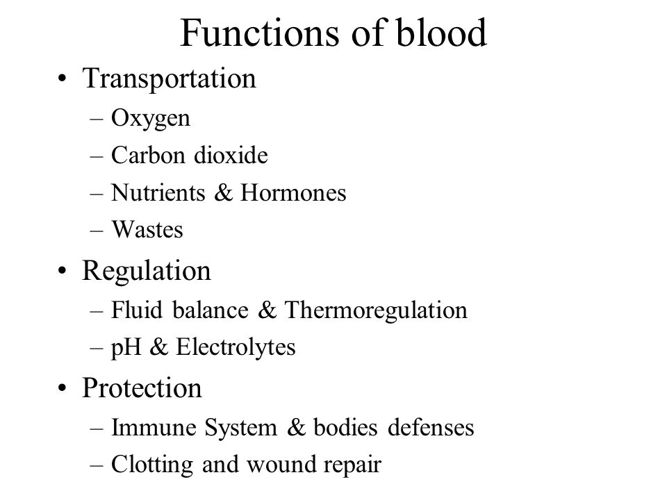 Functions of blood Transportation Regulation Protection Oxygen