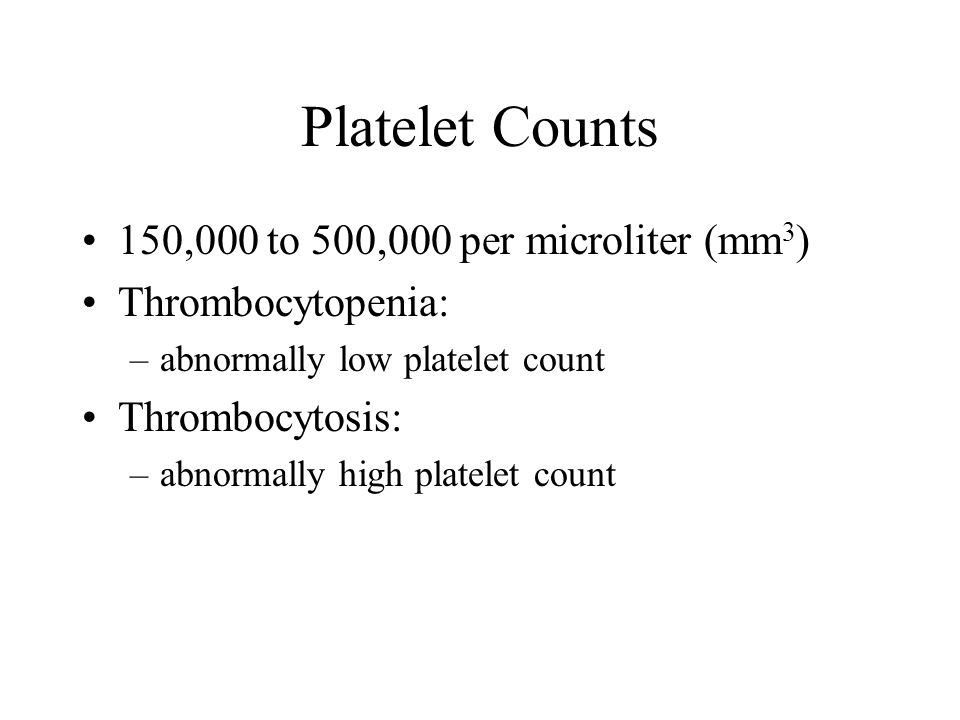 Platelet Counts 150,000 to 500,000 per microliter (mm3)