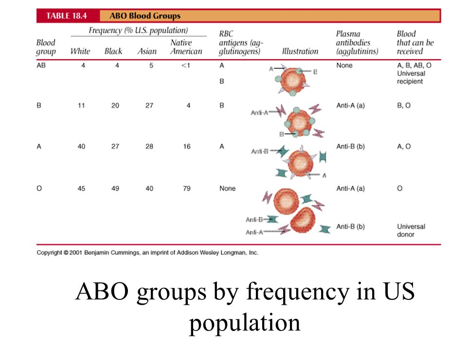 ABO groups by frequency in US population