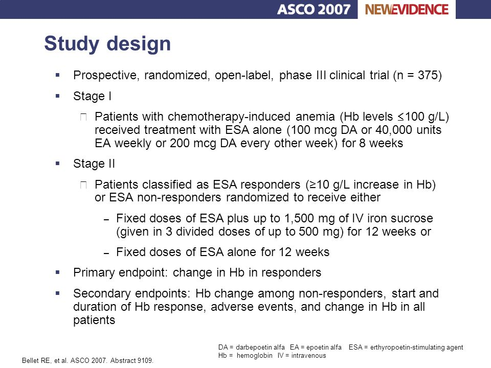 Study design Prospective, randomized, open-label, phase III clinical trial (n = 375) Stage I.