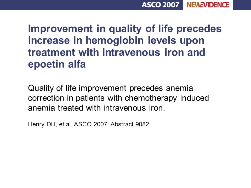 Improvement in quality of life precedes increase in hemoglobin levels upon treatment with intravenous iron and epoetin alfa