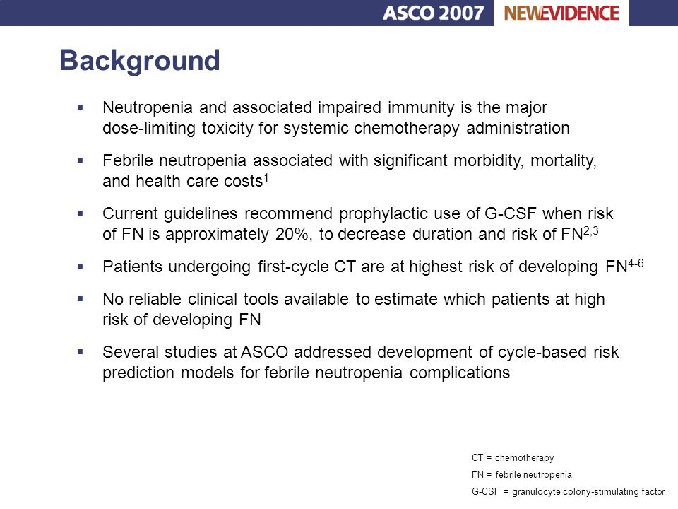Background Neutropenia and associated impaired immunity is the major dose-limiting toxicity for systemic chemotherapy administration.