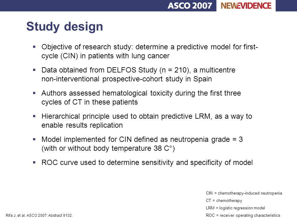 Study design Objective of research study: determine a predictive model for first- cycle (CIN) in patients with lung cancer.