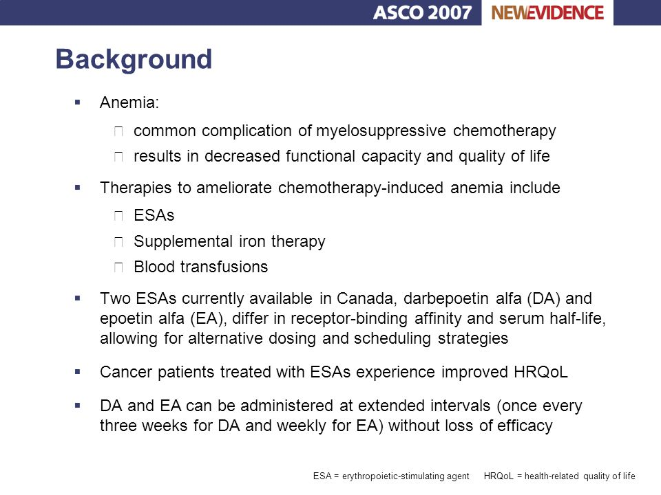 Background Anemia: common complication of myelosuppressive chemotherapy. results in decreased functional capacity and quality of life.
