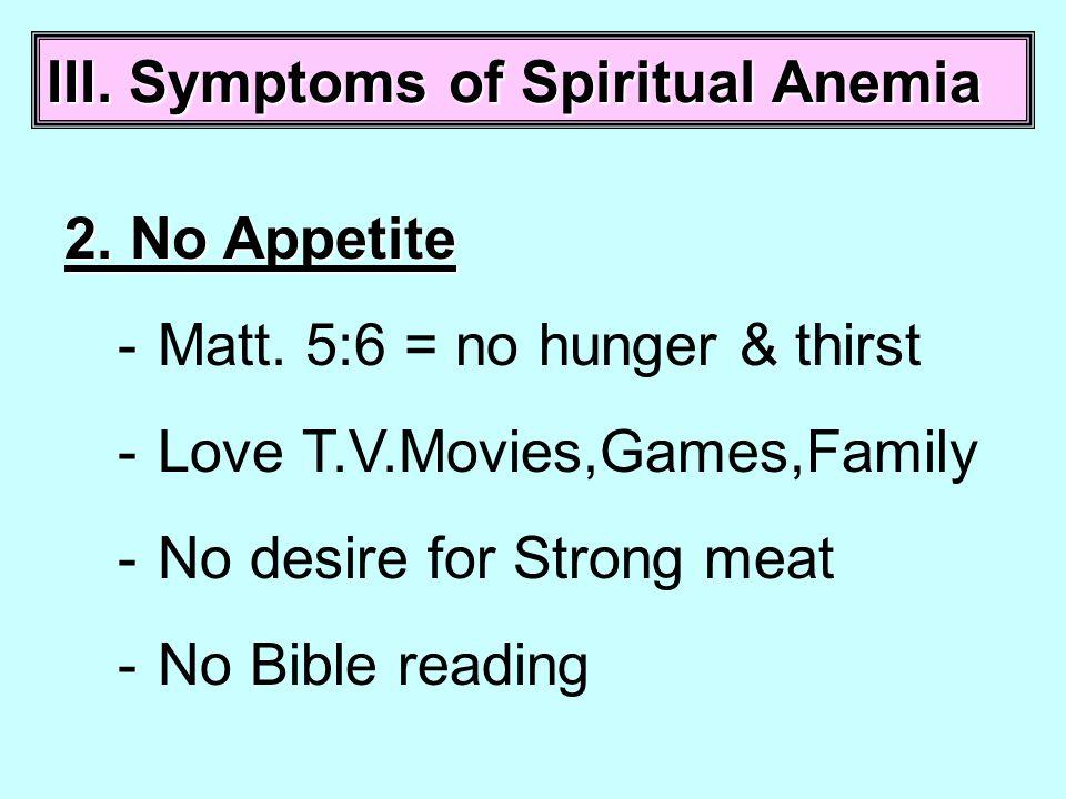 III. Symptoms of Spiritual Anemia