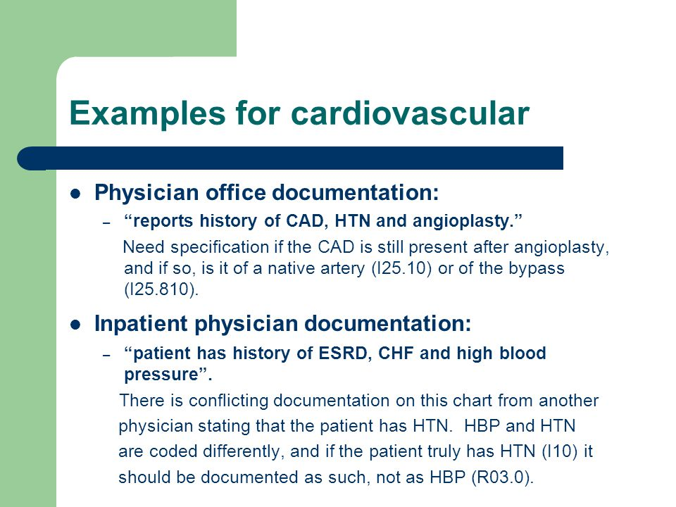 Examples for cardiovascular