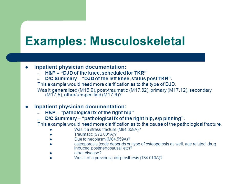 Examples: Musculoskeletal