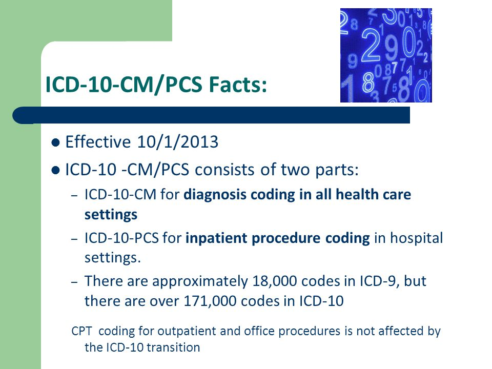 ICD-10-CM/PCS Facts: Effective 10/1/2013