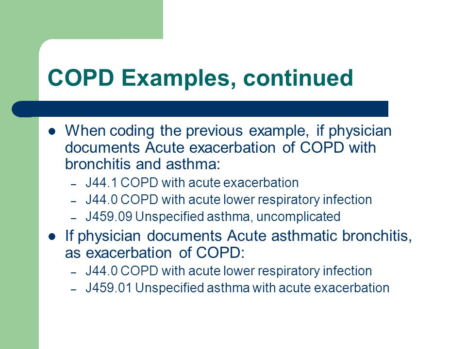 COPD Examples, continued