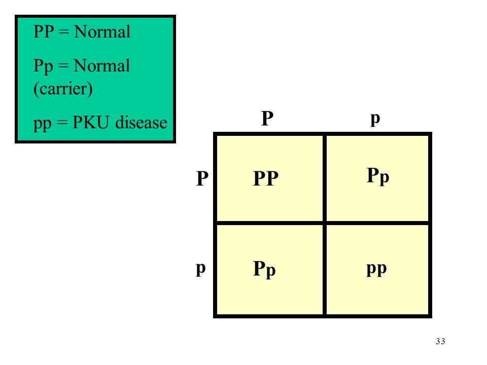 PP = Normal Pp = Normal (carrier) pp = PKU disease P p PP Pp pp P p