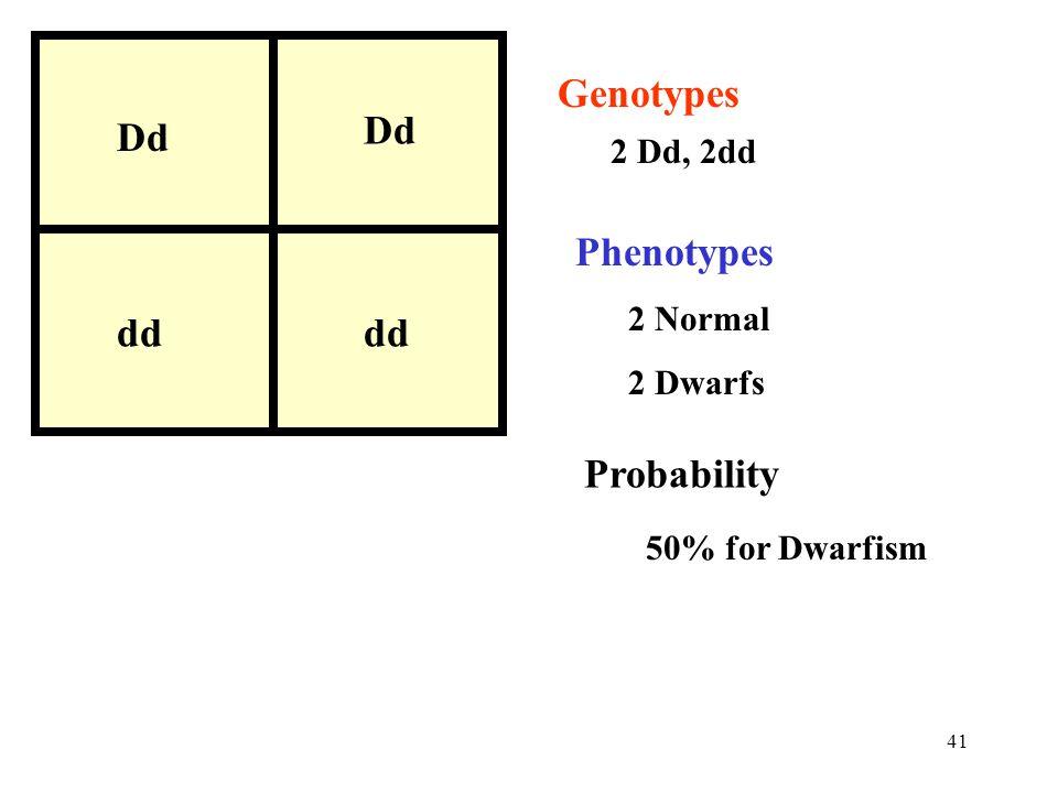 Genotypes Dd Phenotypes dd Probability 2 Dd, 2dd 2 Normal 2 Dwarfs