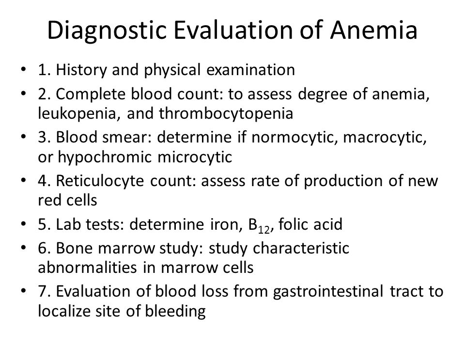 Diagnostic Evaluation of Anemia