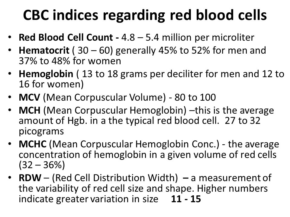 CBC indices regarding red blood cells