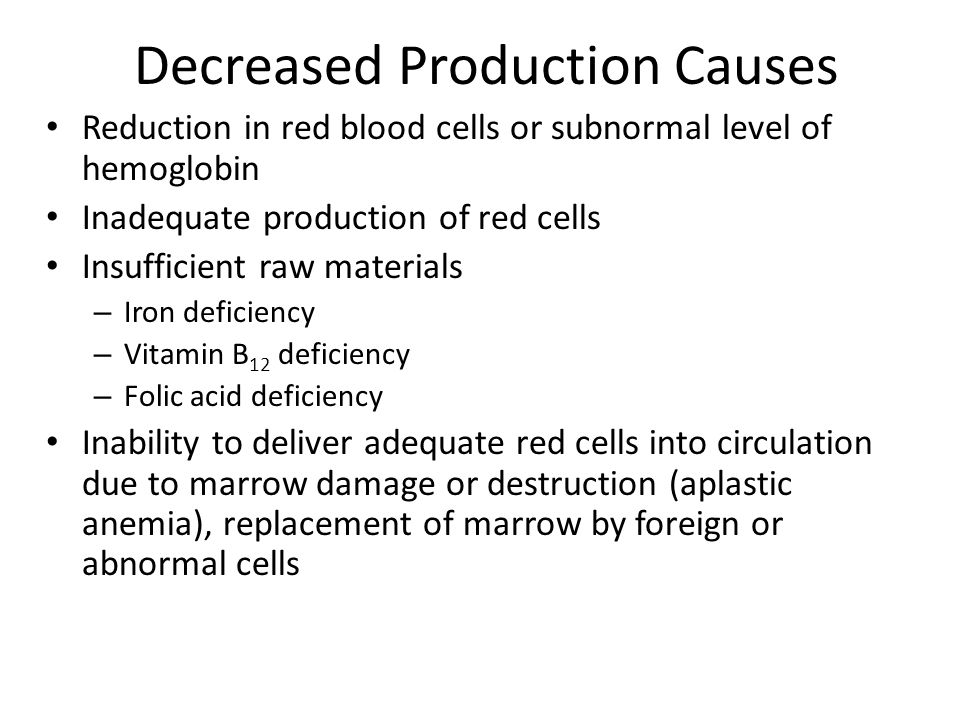 Decreased Production Causes