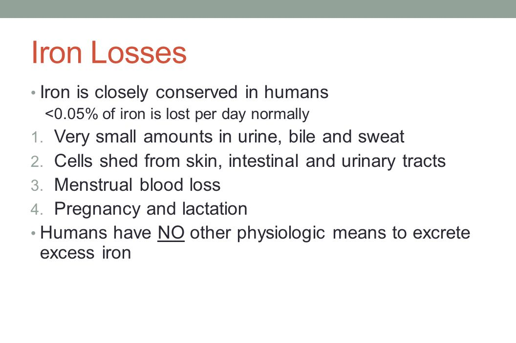 Iron Losses Iron is closely conserved in humans