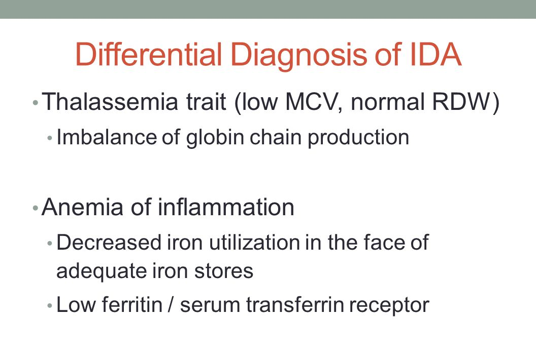 Differential Diagnosis of IDA