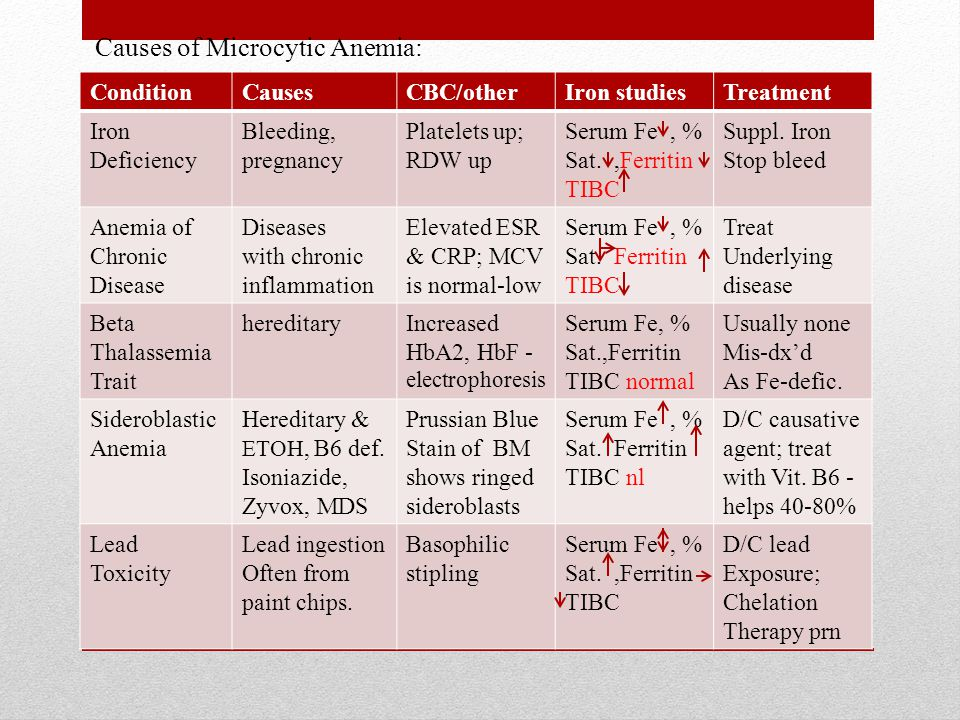 Causes of Microcytic Anemia: