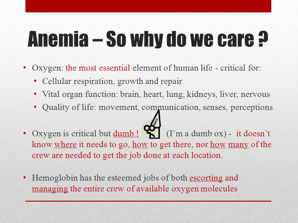 Anemia – So why do we care