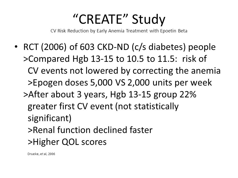 CREATE Study CV Risk Reduction by Early Anemia Treatment with Epoetin Beta