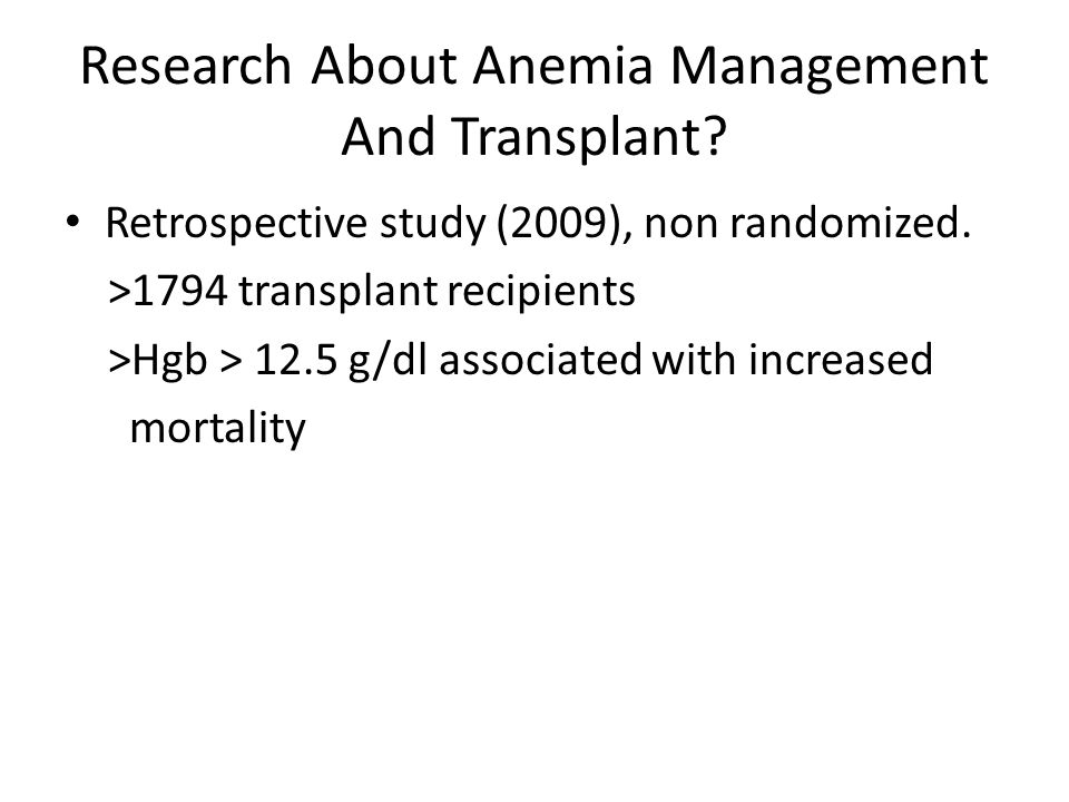 Research About Anemia Management And Transplant