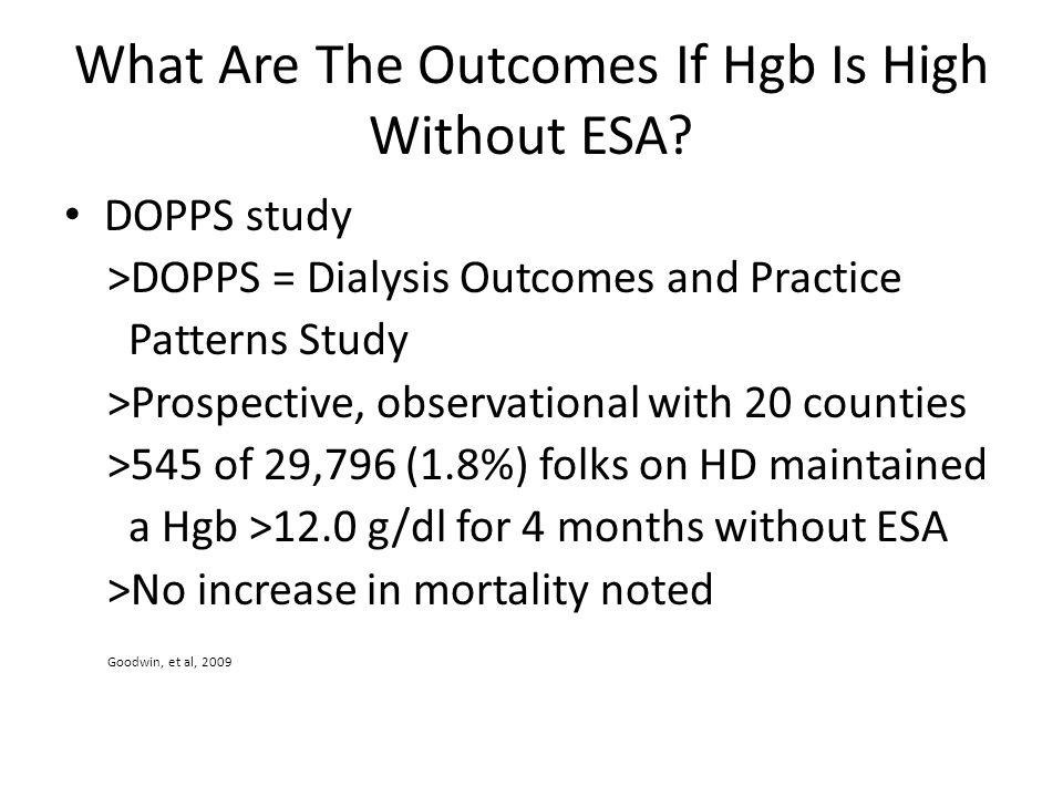 What Are The Outcomes If Hgb Is High Without ESA
