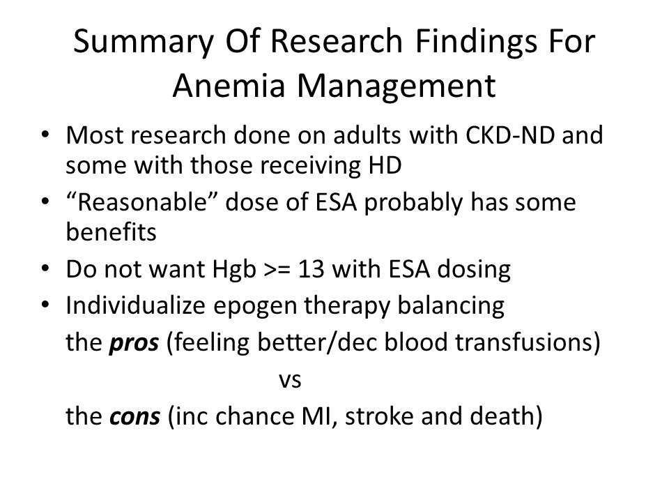 Summary Of Research Findings For Anemia Management